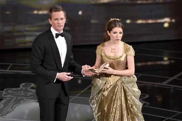 """As expected, it didn't take long for Neil Patrick Harris to bust into song. And it was awesome! NPH, with some help, performed a nearly five-minute song about past Oscar winners and 2015 nominees. The humorous song featured Anna Kendrick and Jack Black and even included the line, """"I hope someone pulls a Kanye West."""" Afterward, NPH joked, """"That whole thing, totally improvised."""""""