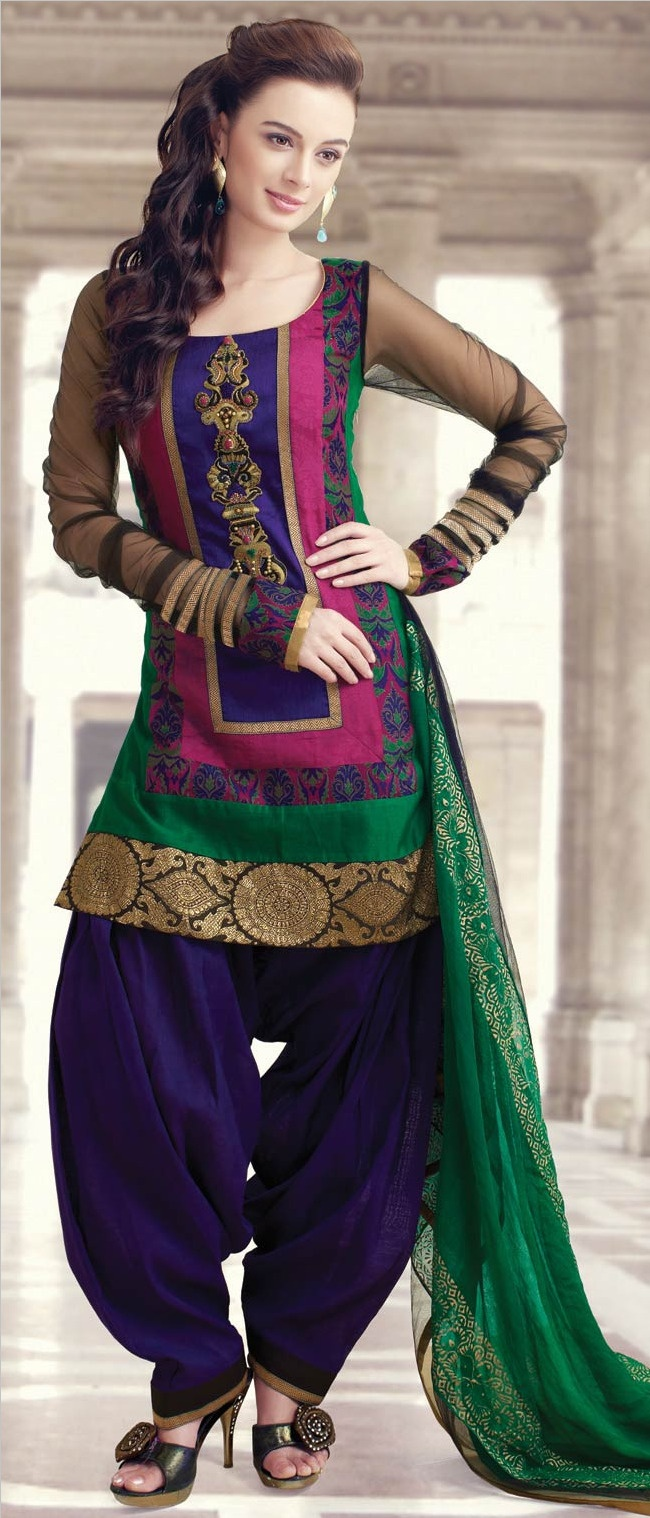 #Green and #Pink Chanderi Art #Silk Readymade Patiala Suit @ $155.76 | Shop @ http://www.utsavfashion.com/store/sarees-large.aspx?icode=kgf3754