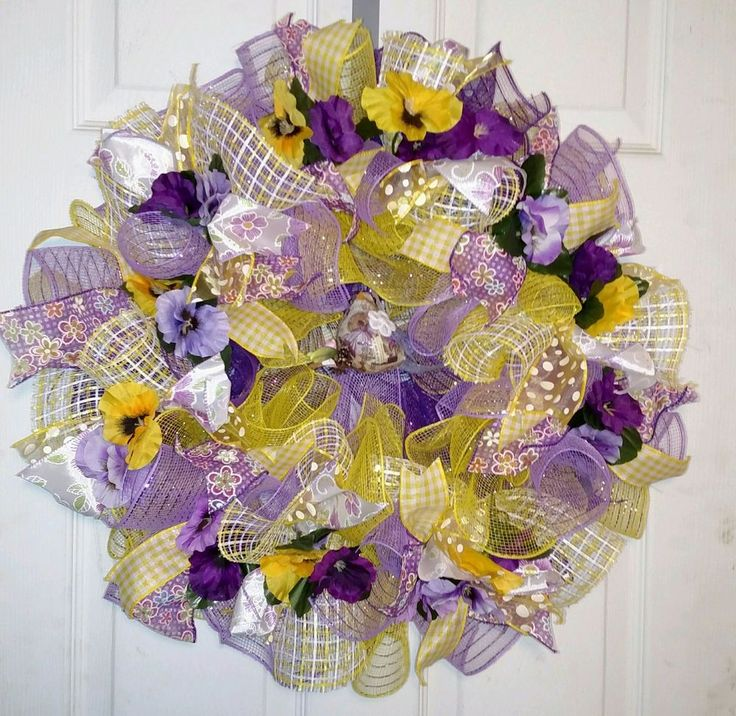 SPRING  DECO MESH RIBBON WREATH  - Free Shipping #DecoMesh