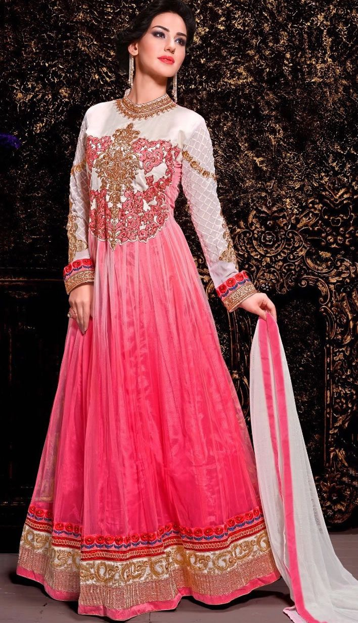 Fashionable Indian Pink Nett Anarkali Suit, Dress