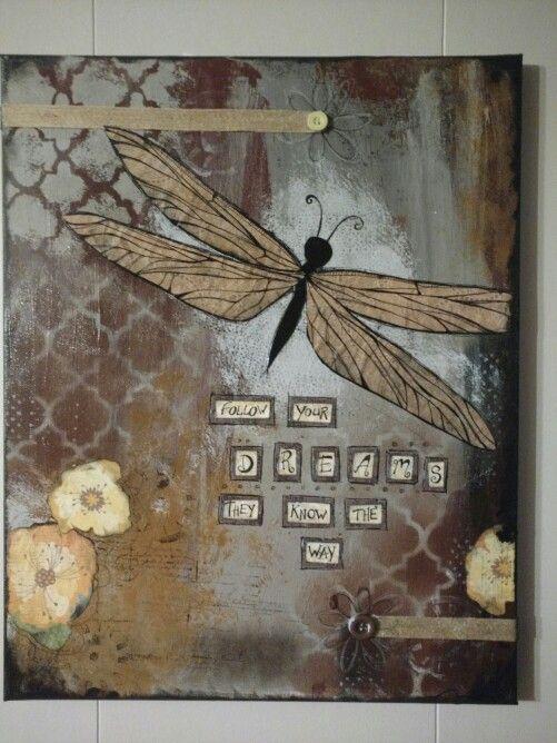 #mixedmedia #perfectlyimperfectdesigns #draginfly #dragonflycanvas