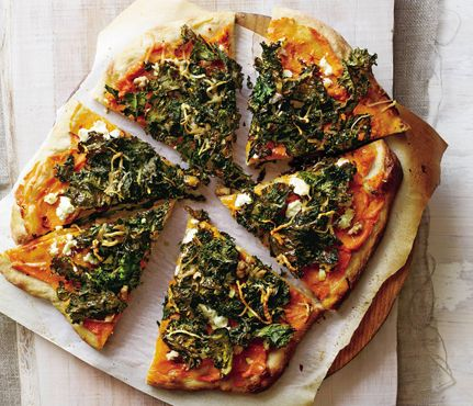 Lightened-Up Delivery Favorites: Sweet Potato and Kale Pizza. The Skinny: 322 calories per serving, 10 g fat (3 g saturated), 50 g carbs, 5 g fiber, 11 g protein #SELFmagazine