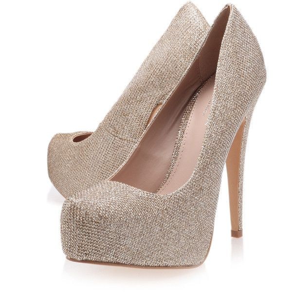 Carvela Kurt Geiger Kaci Metallic (205 BRL) ❤ liked on Polyvore featuring shoes, pumps, metallic, platform pumps, carvela kurt geiger, high heel pumps, platform shoes and metallic high heel shoes