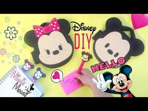 DIY  Material Escolar com material reciclável - DIY Mickey e Minnie ft S...