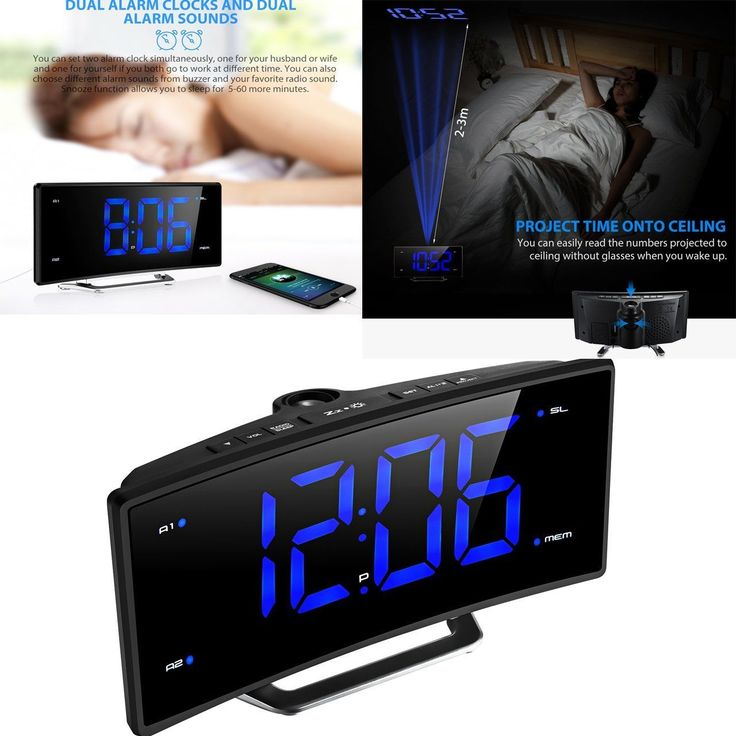 Snooze Alarm Clock Backlight Wall Projector Projection Clocks Fm Radio Usb Port
