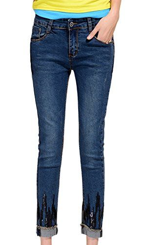 New Trending Denim: Chickle Womens equin Cotton Demin Midrise Skinny Ankle Jeans US 12 Blue. Chickle Women's equin Cotton Demin Midrise Skinny Ankle Jeans US 12 Blue  Special Offer: $39.99  300 Reviews Fashion and casual jeans,it is indeed for everybody who's not just anybody. Package included:1 x women jeansCotton and spandexFeatures a zipper and button-fly...
