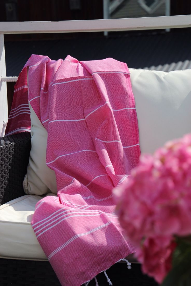 Summer with pink hamam towel