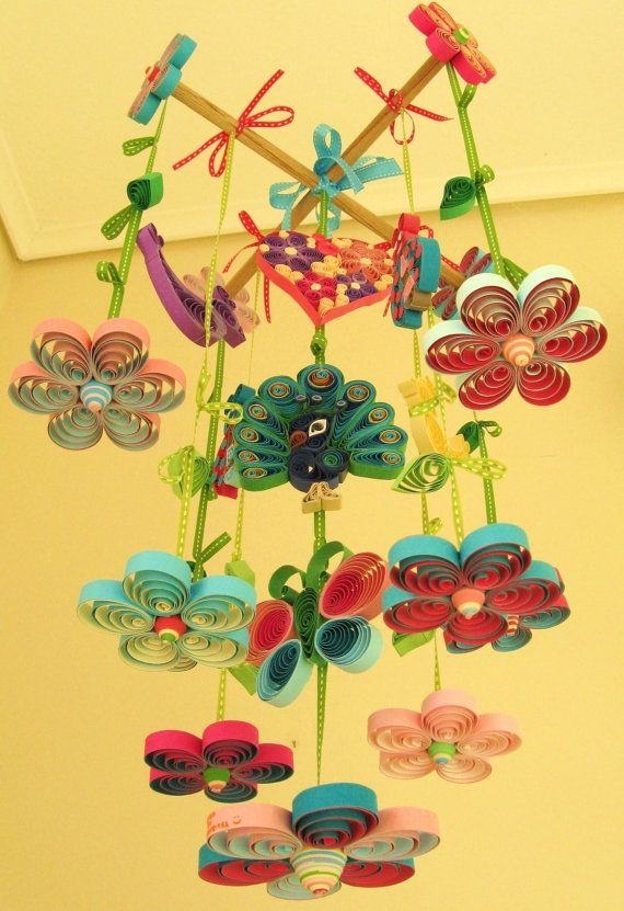 Crib Mobile Baby Mobile Peacock Mobile Quilled by tsipouritsa