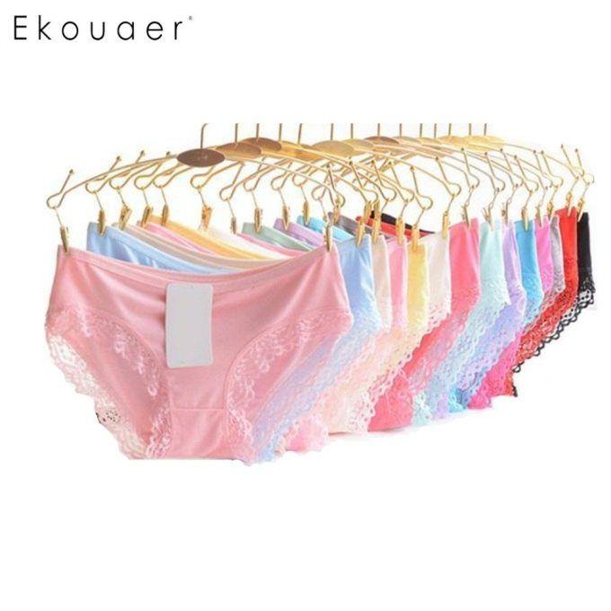4661b6961f0c Ekouaer 10PCS/Pack Women UndeRwear Panties Mix Color Soft Lift Hip  Breathable Solid Low Waist