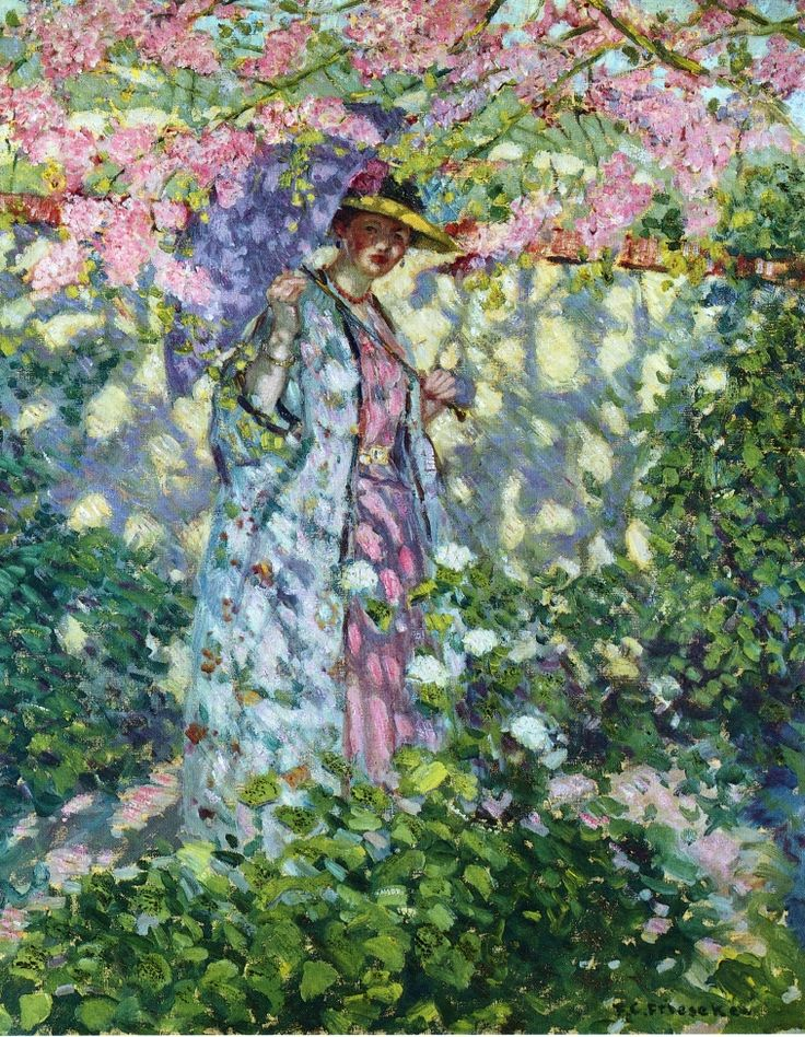 Ironic there is a woman under it....The Judas Tree Frederick C. Frieseke