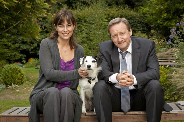 Part of new Midsomer Murders cast - Fiona Dolman as Sarah Barnaby, Neil Dudgeon as John Barnaby and Sykes. (2012)