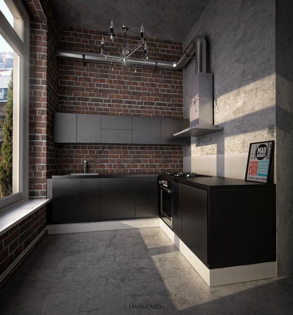 #reforma #cocina en loft rehabilitado con muebles color negro y gris, paredes de ladrillo visto y hormigón, suelo de microcemento.