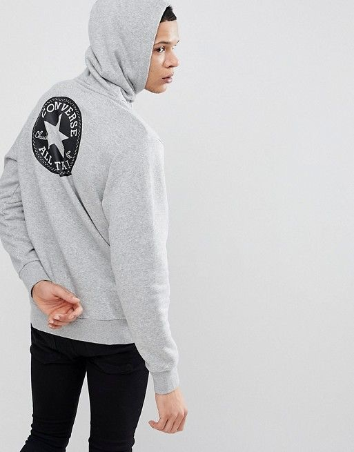 Converse Pullover Hoodie With Chuck Patch In Gray 10006680-A01 ... e527862a6df8