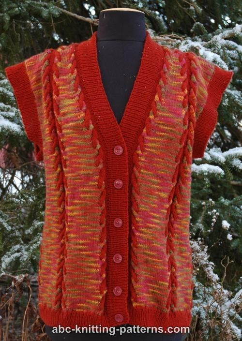 ABC Knitting Patterns - Autumn Cabled Vest from Hand-Dyed Yarn