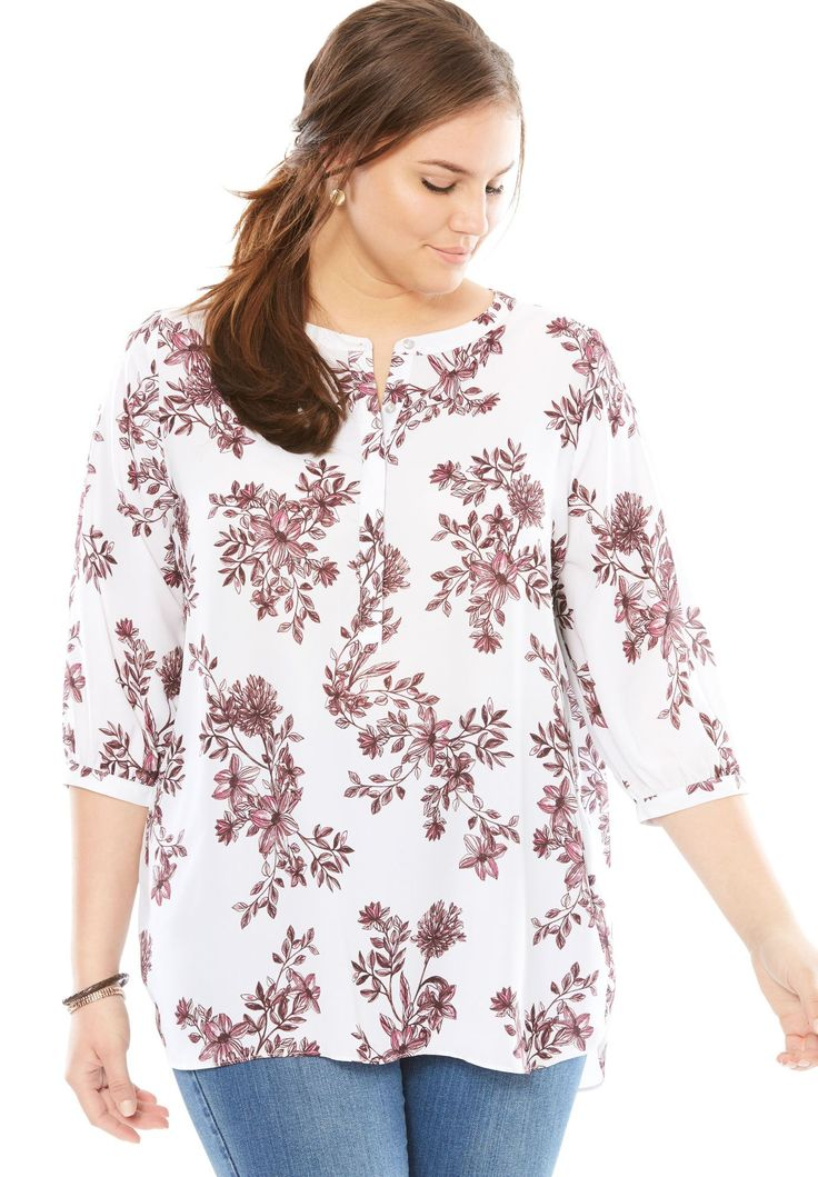 Pleat-back Mandarin blouse - Women's Plus Size Clothing