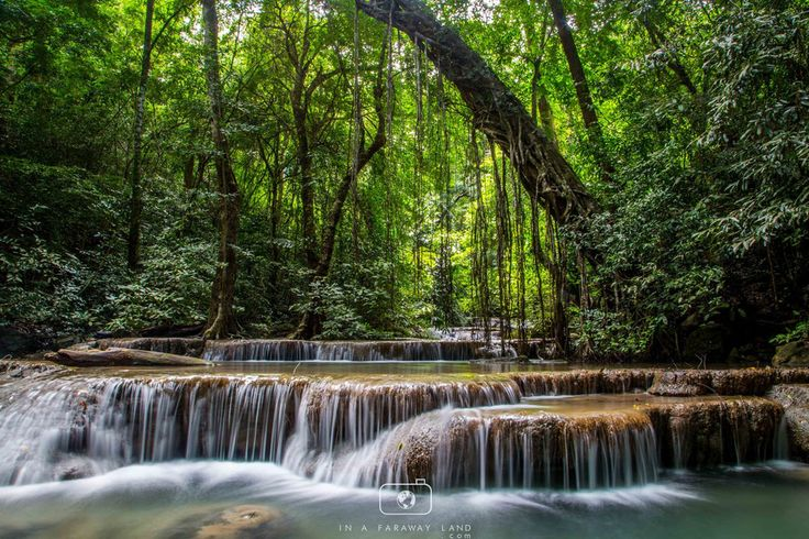 WATERFALLS OF ERAWAN NATIONAL PARK IN THAILAND