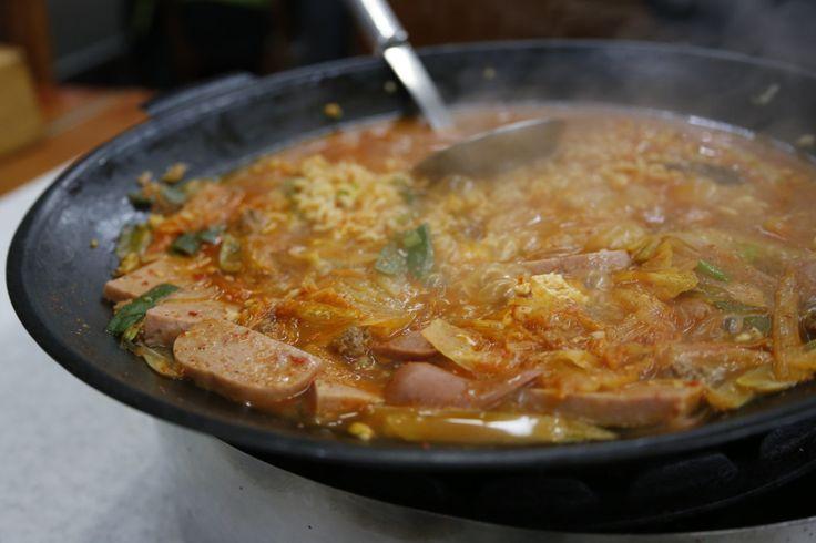 "Delicious Korean food-Budaejjigae: ""army base stew"" on Budaejjigae Street in Uijeongbu, South Korea"
