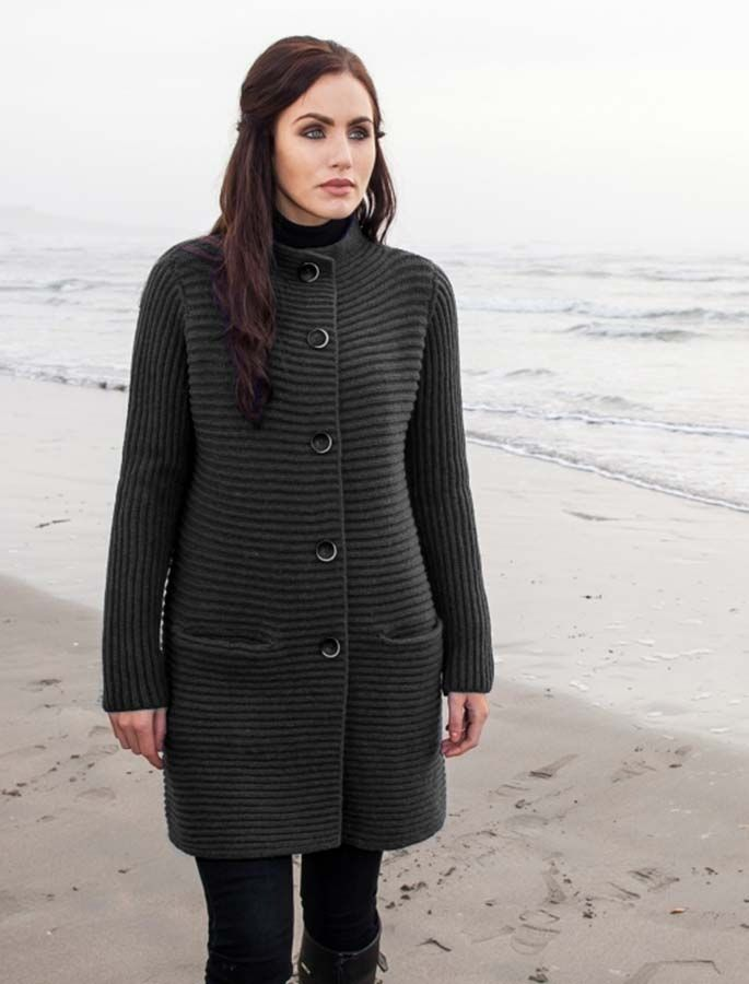 Wool & Cashmere Ribbed Coatigan - Charcoal