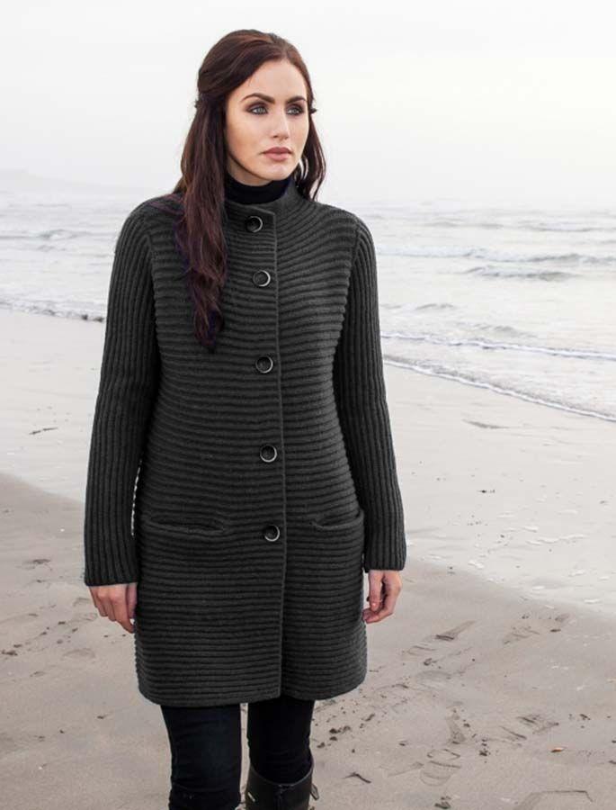 Wool & Cashmere Ribbed Coatigan - Charcoal