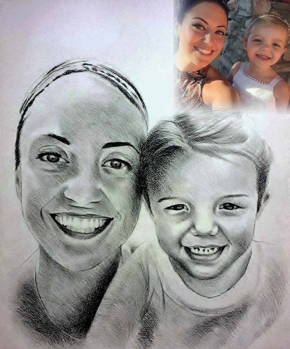Personalized Portrait Pencil Drawing From Family Photograph Etsy Portrait Pencil Drawings Photo To Pencil Sketch