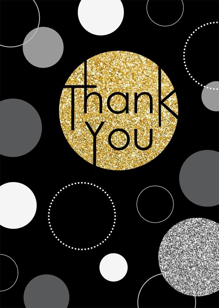 Glittery Golden Thank You - Thank You Cards from CardsDirect