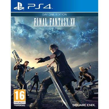 PS4 Final Fantasy XV Day One Edition  Ga in Final Fantasy XV voor PlayStation 4 samen met Noctis en zijn vrienden verschillende uitdagingen aan in een enorme open wereld die gevuld is met gigantische wezens wonderlijke gebieden diverse culturen en verraderlijke vijanden!  EUR 54.99  Meer informatie