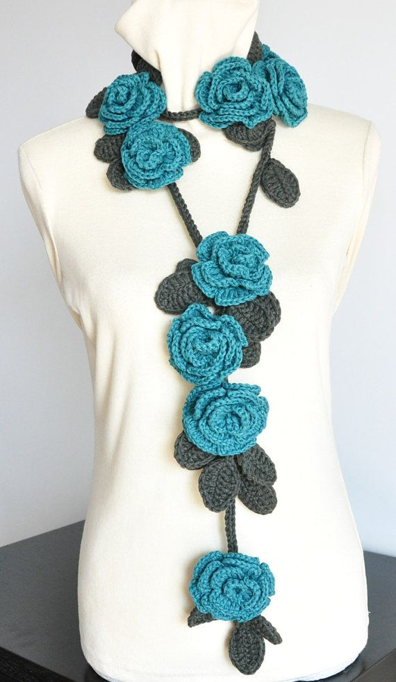 ROSA TURQUOISE Crochet Multicolor Roses by jennysunny on Etsy