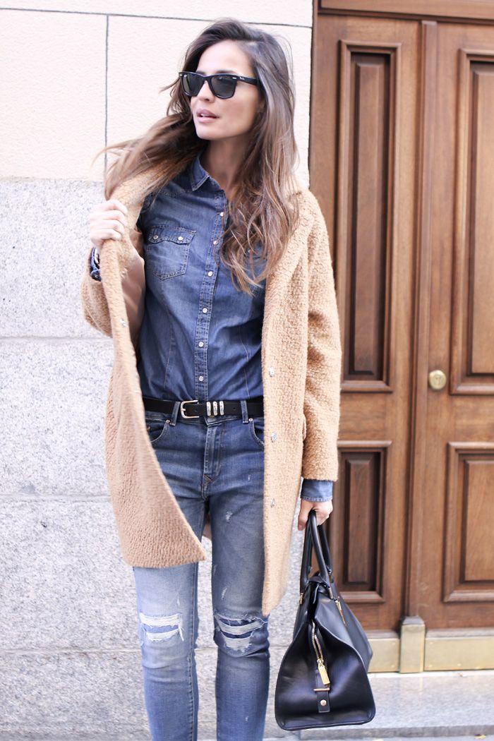 denim + camel coat