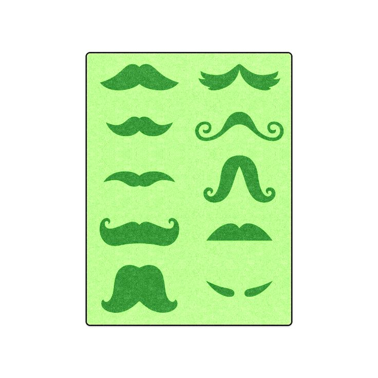"New! Designers blanket : Creative idea for your bedroom with Mustaches. New edition available / GREE Blanket 50""x60""."