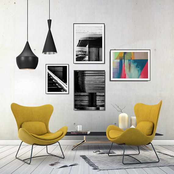 Looking for industrial living room decor? Get inspired by this set of printables in a bold color palette! Modern abstract compositions with creative shapes, lights, and shadows, ready to print!  +++ #wallart #walldecor #geometric #geometricposter #geometricartprint #moderngeometric #industrial