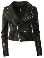New Womens Ladies Faux Leather Belted PU Embroidered Zipped Biker Jacket