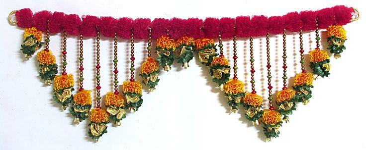 Satin Ribbon Flower Door Toran with Beads and Golden Bell ...