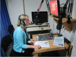 Lilian Greenwood MP in the studio recording announcement for #Nottinghamrocks used on all Nottingham City Transport buses.