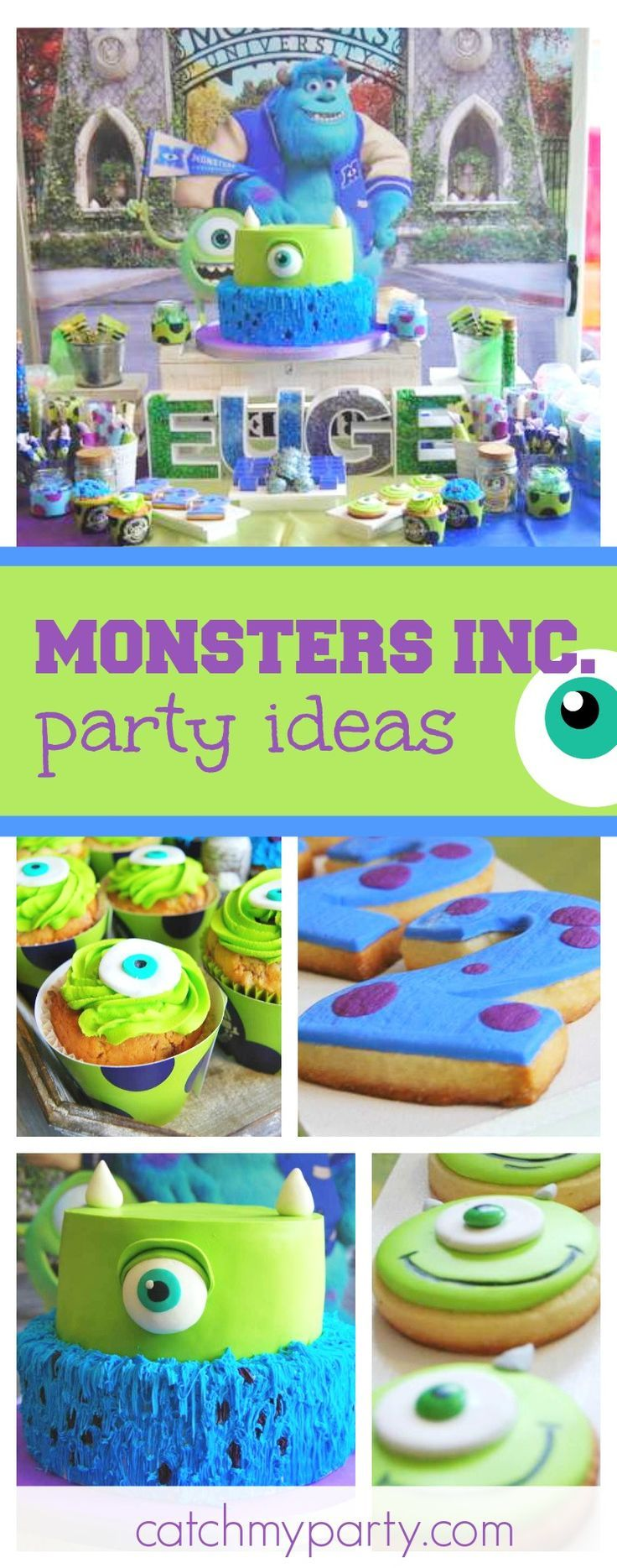 Check out this fun Monsters Inc. University birthday party. The birthday cake is awesome!! See more party ideas and share yours at CatchMyParty.com