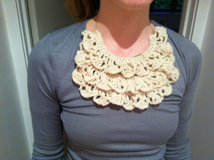 Crocheted bib necklace. Link to pattern on my Stuff I Want To Make Board. I'm pleased with it!