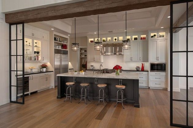 "Kitchen part of open floor plan but separated visually by beam and side ""windows"" #kitchen"