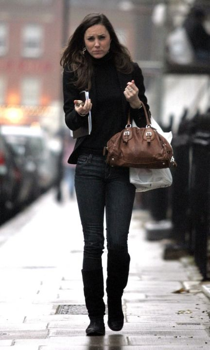 Kate Middleton Braves The Miserable Weather In A Chic Black Ensemble, November 2007: