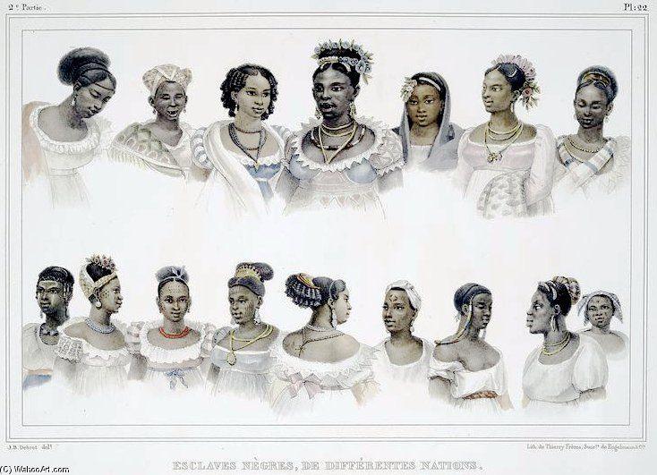 Black Slaves Of Different Nation In Brazil by Jean Baptiste Debret (1768-1848, France)