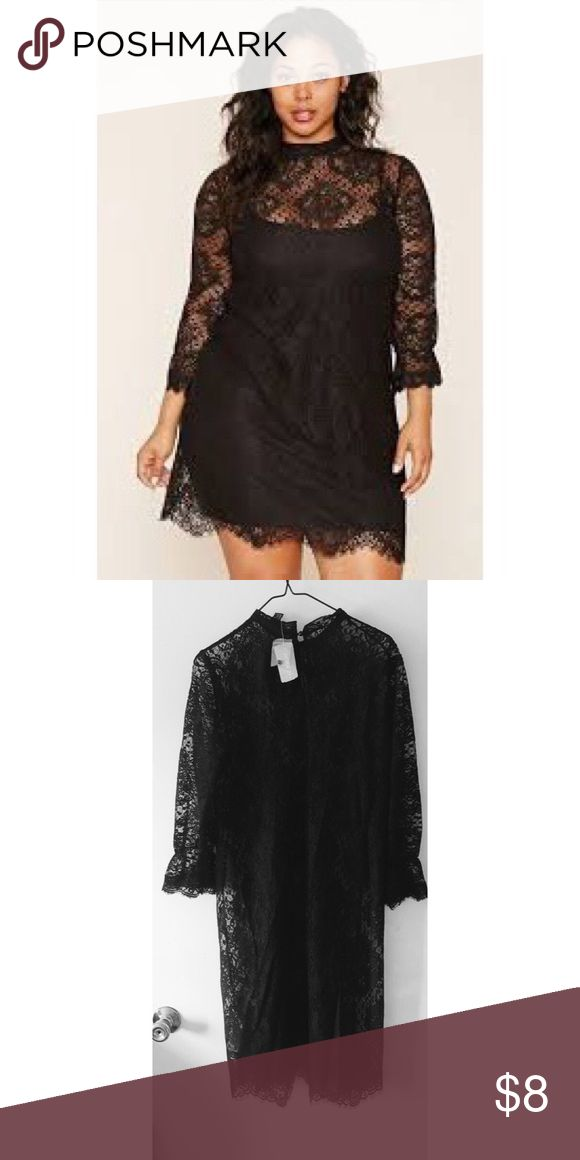 Forever 21 Plus Size Lace Dress Brand New with tags. Note: Dress is see through, does not include under Dress. Forever 21 Dresses Long Sleeve