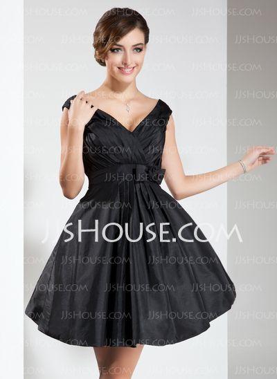 Bridesmaid Dresses - $111.99 - A-Line/Princess V-neck Short/Mini Taffeta Bridesmaid Dresses With Embroidered (007022536) http://jjshouse.com/A-Line-Princess-V-Neck-Short-Mini-Taffeta-Bridesmaid-Dresses-With-Embroidered-007022536-g22536