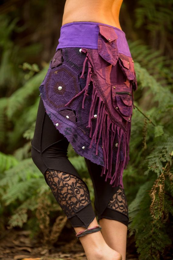 Patchwork Pocket Skirt Purple Sexy Fairy Hippie by AryaClothing