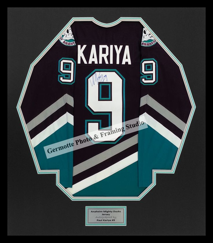 1d799ffcf43 ... Mighty Ducks Jersey Autographed by Paul Kariya 9 triple matting behind  UV glass with black ...