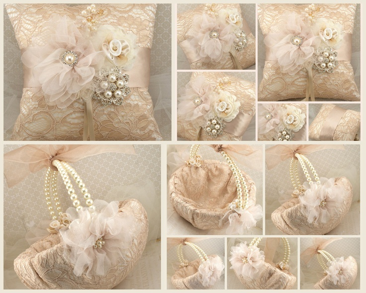 Bridal Ring Bearer Pillow and Flower Girl Basket Set in Champagne, Nude and Ivory - My Dream Wedding. $230.00, via Etsy.
