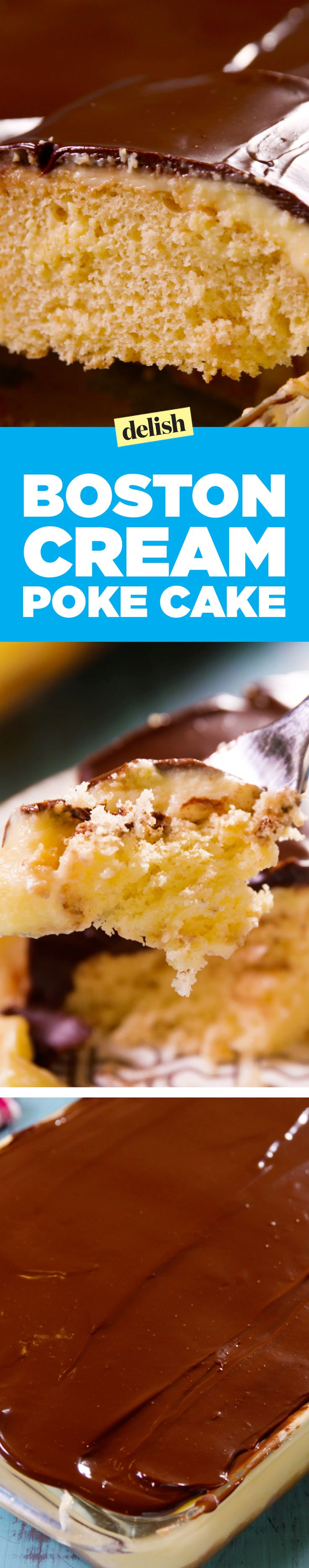 This Boston cream poke cake is wicked easy and amazing. Get the recipe on Delish.com.