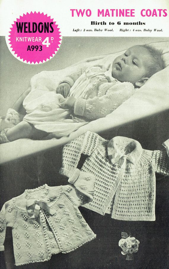 PDF  Vintage 1950s  Baby Knitting Pattern Weldons A993