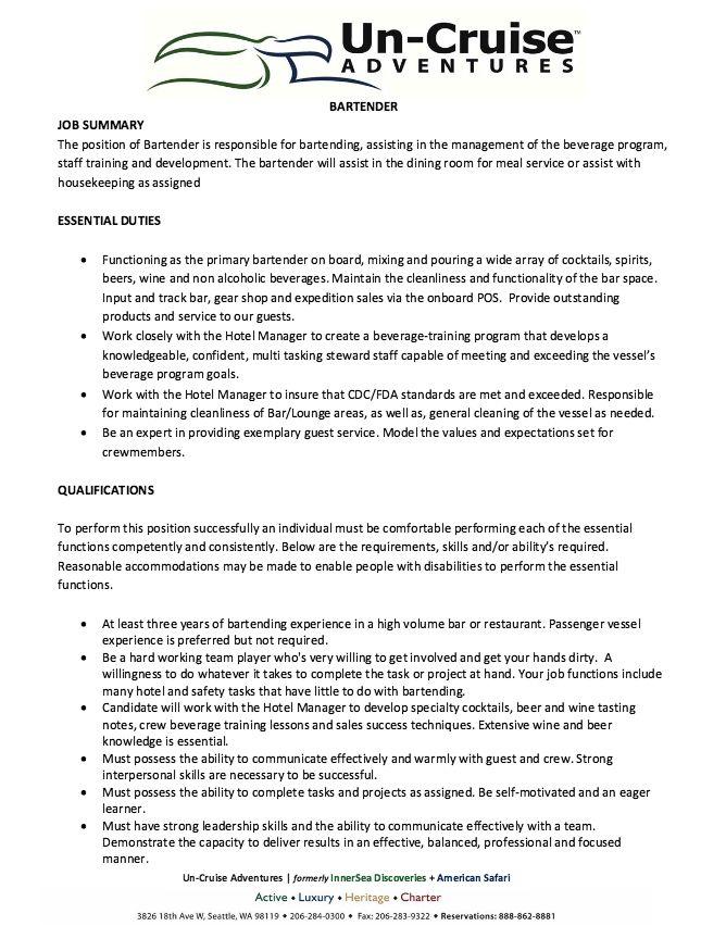 12 best 7\/16\/2017 bartender resume images on Pinterest Bartender - resume for a bartender