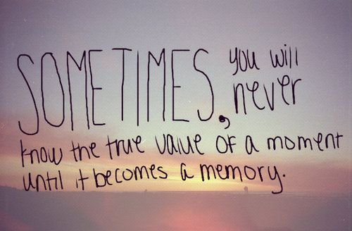 sometimes you will never know the true value of a moment until it becomes a memory.: Cherish Memories, Precious Memories, Gina Quotes, Awesome Quotes, Inspiration Thoughts, Goodbi Quotes, Quotes True, Inspiration Quotes, Memories Bring