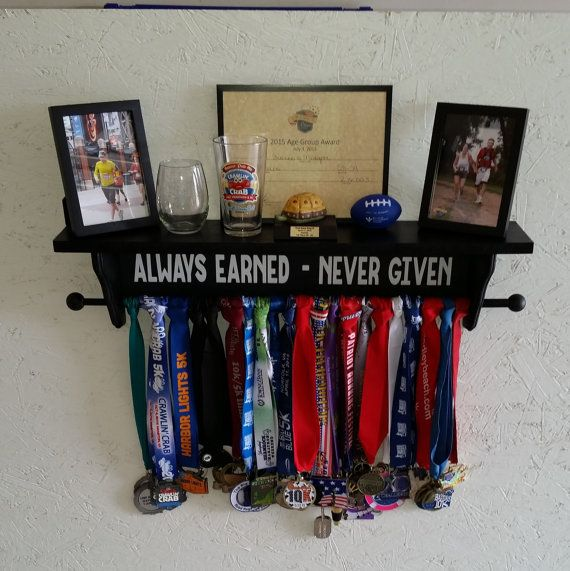 Sports Medal and Trophy Shelf by ShelfnWoodworks on Etsy