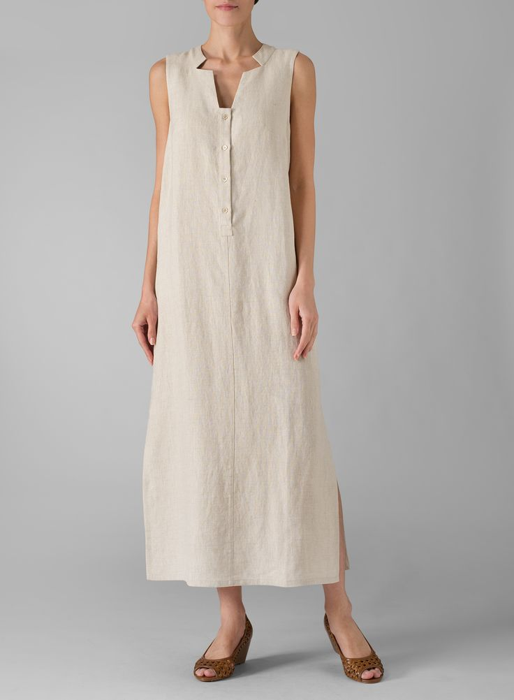 Linen Sleeveless Slip-on Dress | Sleeveless styling. Suit your style with this classical feminine straight line dress.