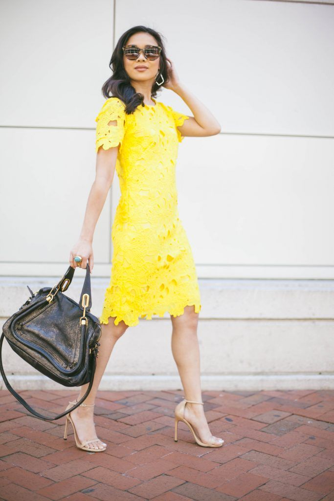 Red yellow black crochet dress
